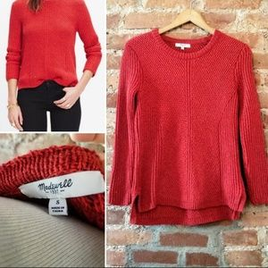 Madewell Hexcomb Sweater Red/Orange Heather